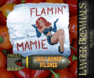 Layger Brewhaus Beer Label - Flamin' Mamie Chili Honey Pilsner