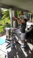 The first brew on Jon's all grain brew tower, June 17, 2014.